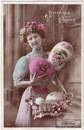 Carte de paques avec une jeune femme et ses oeufs
