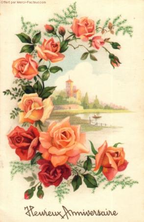 carte postale ancienne roses heureux anniversaire