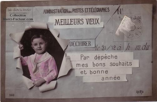 Telegramme carte de voeux ancienne
