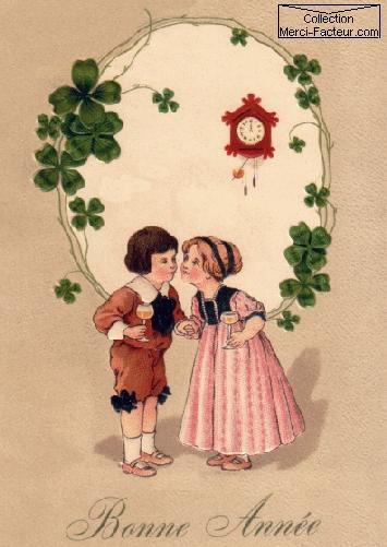 Trinquons à la nouvelle année. Mais avec des enfants sur cette carte postale ancienne, ce n'est pas politiquement correcte...