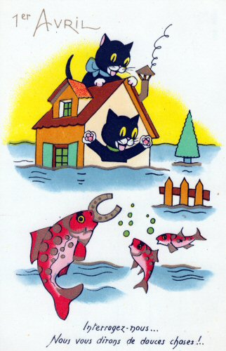 carte postale ancienne de petits chat avec un gros poisson d'avril