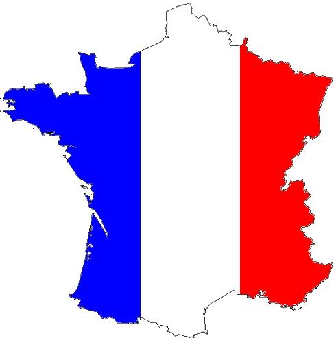 carte postale de France avec la carte de France en tricolor bleu blanc rouge