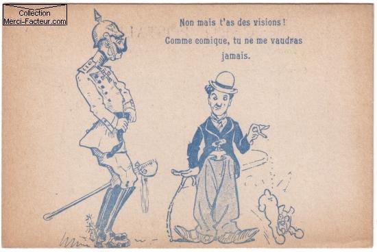 Carte postale ancienne avec dessin de Charlot (Charly Chaplin) et Bismark
