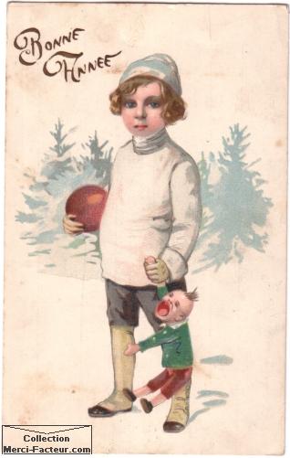 Carte postale ancienne de voeux avec un enfant et sa poupée qui pleure. Bonne année