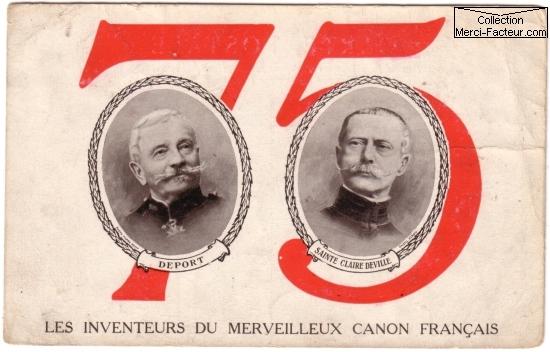 Carte postale de la guerre 14 18 sur les inventeurs du canon de 75 mm