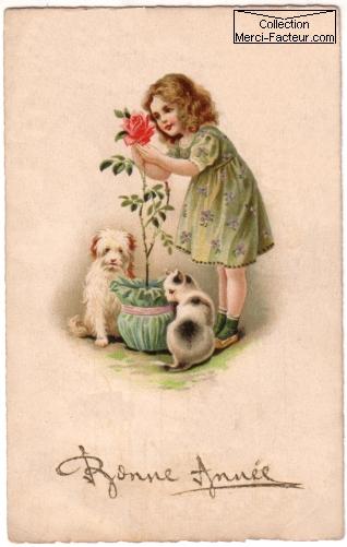 Dessin d'une petite fille avec son chient et son chat qui ceuille une rose rouge