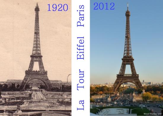 La Tour Eiffel en 1920 et en 2012 sur carte postale de Paris