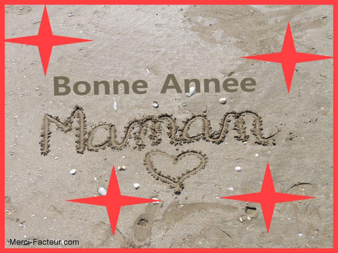 carte de voeux gratuite bonne année Maman dans le sable