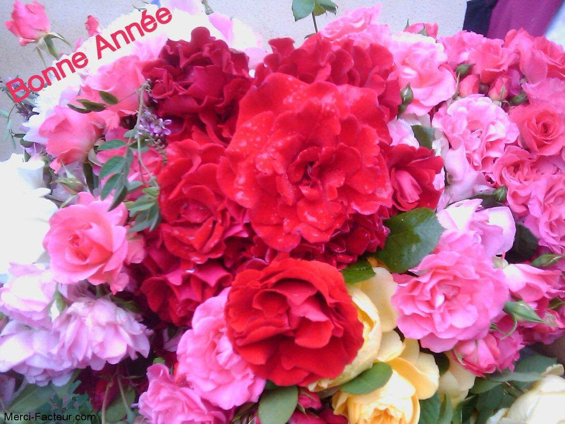 carte de voeux gratuite un bouquet de roses avec Bonne année