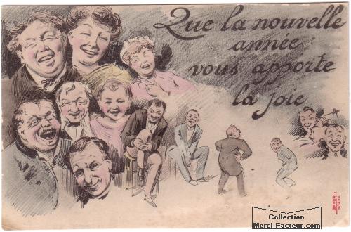 Dessin de carte de voeux ancienne avec rire et caricatures