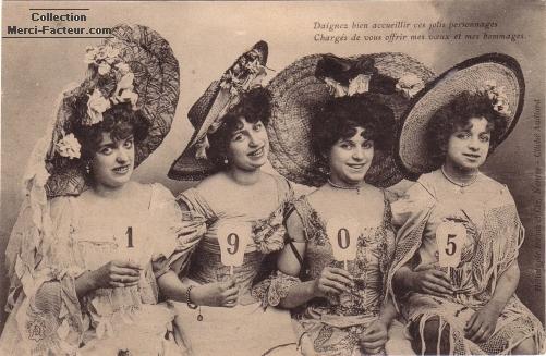 Carte de voeux ancienne 1905 avec quatre jolies jeunes femmes