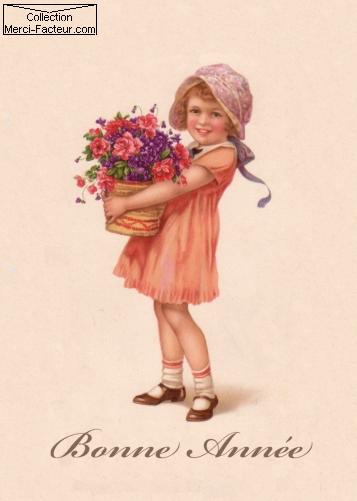 carte postale ancienne avec ravissante petite fille avec une gerbe de fleurs