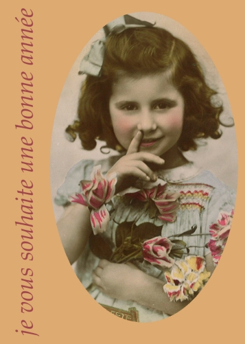 carte voeux avec carte postale ancienne avec petite fille