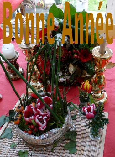 Carte bonne année meilleurs voeux avec composition florale à imprimer gratuitement
