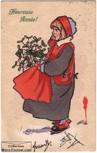 carte de voeux avec un dessin au petit chaperon rouge avec du houx