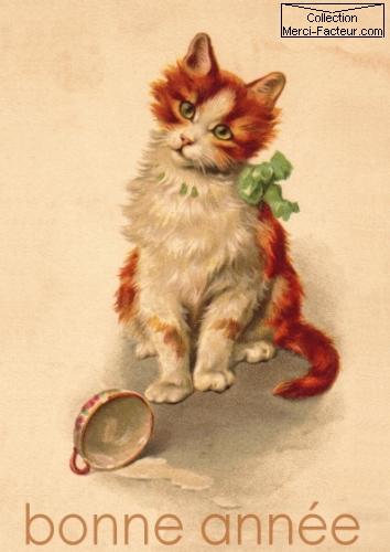 Carte postale ancienne avec petit chat roux pour les voeux de nouvel an