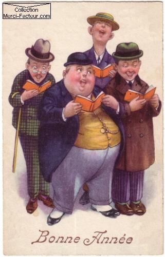 Chorale d'hommes pour un dessin de carte postale ancienne pour le jour de l'an