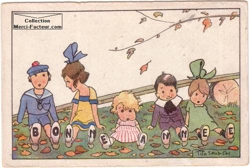 Carte postale ancienne de Cinq enfants avec le marquage BONNE ANNEE sur les semelles.