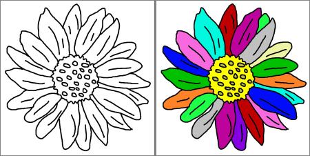 comment faire un coloriage marguerite en couleur
