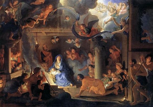 Nativité de Charles Le Brun pour carte de Noel