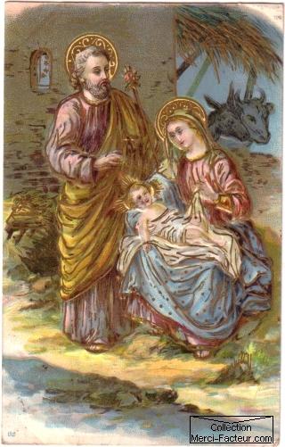 cr�che de no�l carte postale ancienne de Noel avec Nativit�