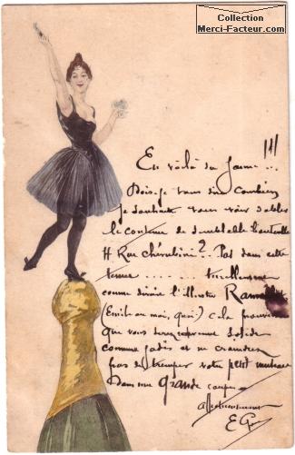 Une danseuse sur une bouteille de champagne pour souhaiter bonne année. Dessin façon Toulouse Lautrec