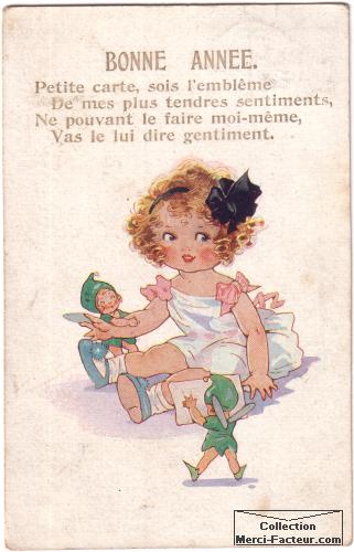 Jolie petite fille avec lutins pour carte de voeux ancienne
