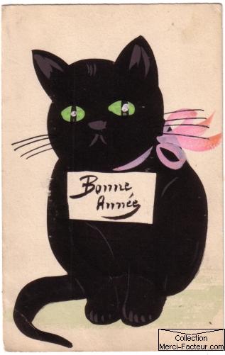 Dessin à la gouache pour carte bonne année 1912