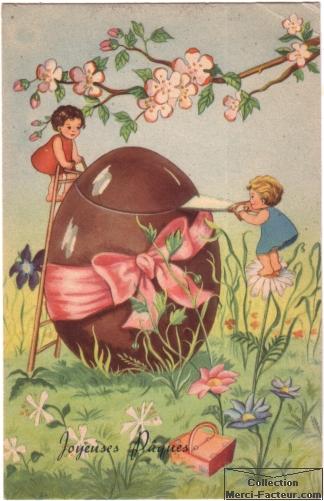 Dessin de paques sur carte postale ancienne avec un gros oeuf en chocolat