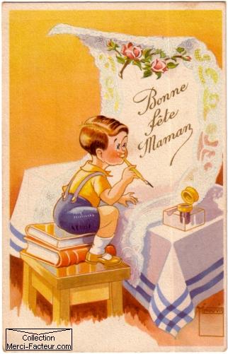 Petit garcon qui ecrit pour la fete des meres