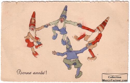 farandole de lutins pour carte de voeux ancienne déssinée