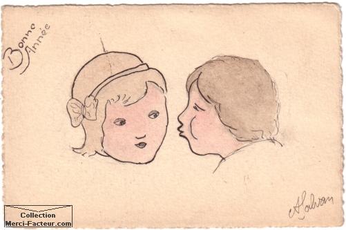 Petit dessin plein de finesse et un peu maladroit, à l'encre de chine et à l'aquarelle pour un tendre baisé