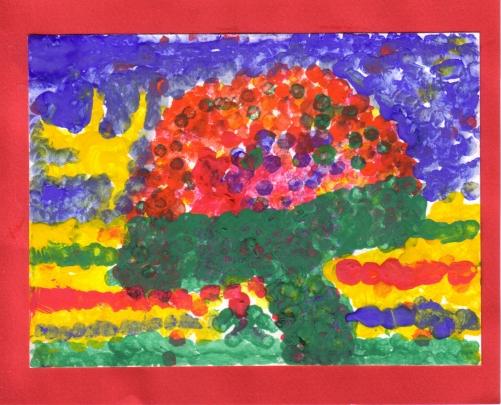 Dessin d'enfant avec arbre de couleur