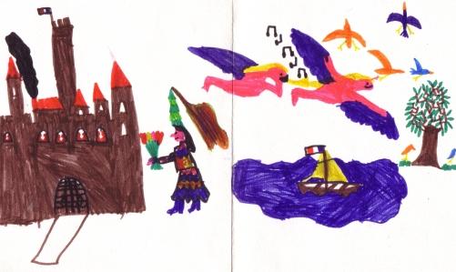 Chateau et fée dans dessin d'enfant pour carte de fête des mères