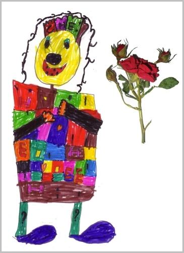carte de fête des mères avec un dessin d'enfant