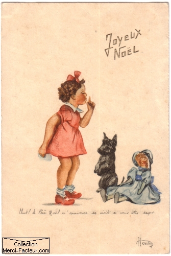 Carte de noel ancienne avec dessin d'une petite fille, un chien et une poupée