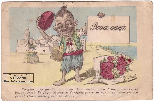 carte de voeux coloniale Bonne année