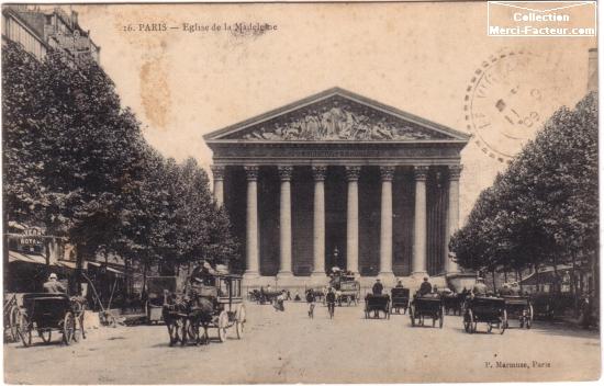 Eglise de la Madeleine avec carioles au d颵t du si裬e dernier sur carte postale