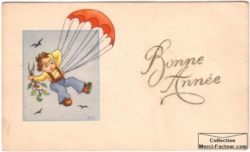 Carte postale ancienne d'un enfant en parachute