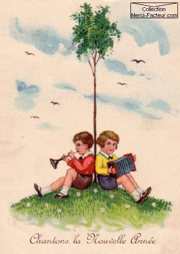 Carte postale de voeux avec Au pied d'un arbre 2 enfants qui jouent de la musique