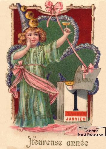 Une fée qui trinque au champagne pour le nouvel an sur carte de voeux ancienne