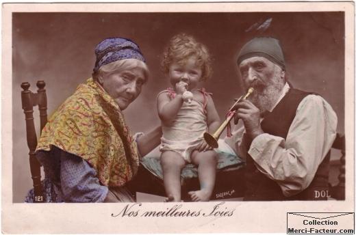 carte postale ancienne fête des grand-mères et fête des grand-pères