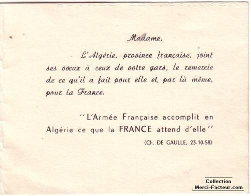 L'Armée Française accomplit en Algérie ce que la FRANCE attend d'elle Ch. De Gaulle, 23-10-58