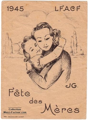 VIgnette de fête des mères en 1945 imprimé à Alger