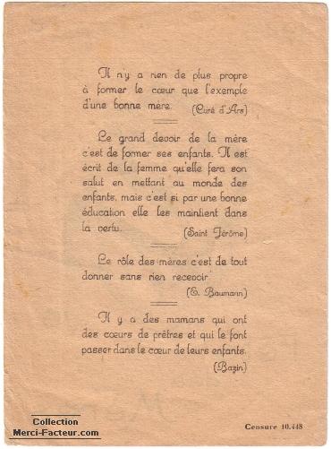 Plusieurs poèmes pour la fête des mères en 1945