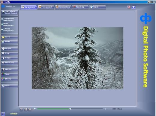 Image de fond dans le programme Fotomix pour la carte st Valentin