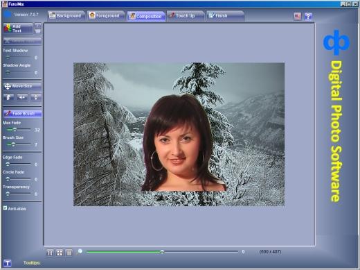resultat de la composition avec la transparence avec Fotomix