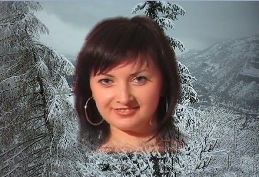 integration du visage dans le paysage de montagne sous la neige pour carte st valentin