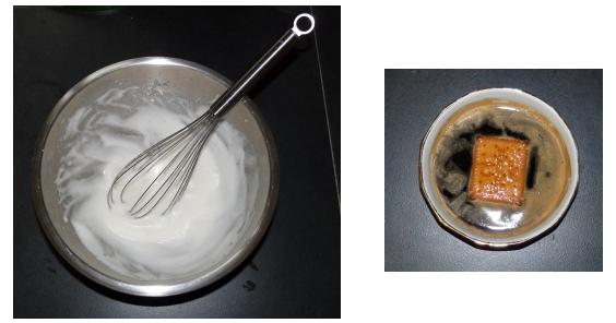 Pour le Tiramisu, battre les blancs en neige, et tremper les petits beurres dans le café