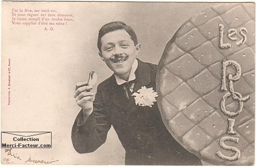galette des rois pour l'Épiphanie avec carte postale ancienne